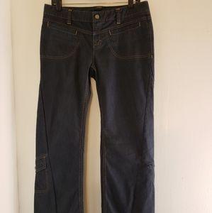 Athleta Denim Cargo Jeans Flared Gray Size 10 Snap